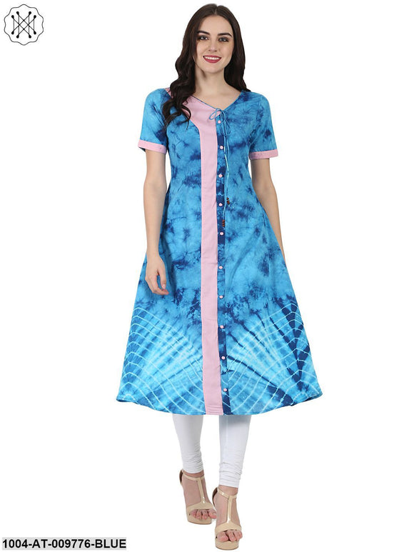 Blue Printed Half Sleeve A-Line Rayon Kurta With Dori Work At Yoke