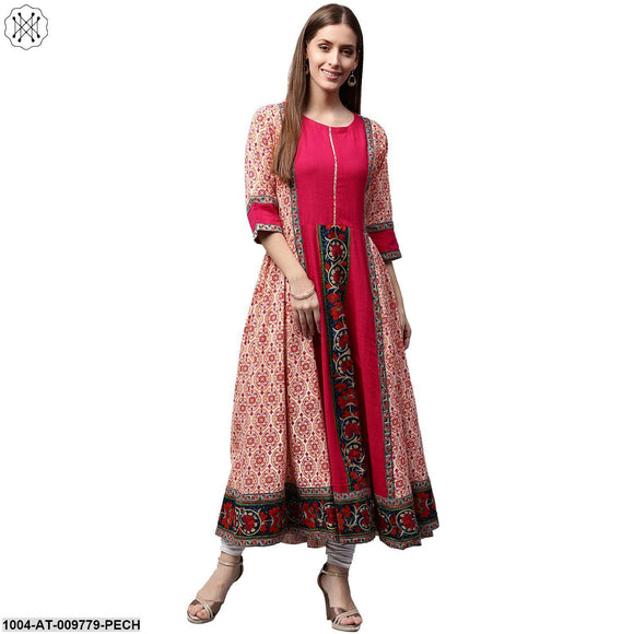 Peach & Pink Printed 3/4Th Sleeve Cotton Slub Anarkali Kurta