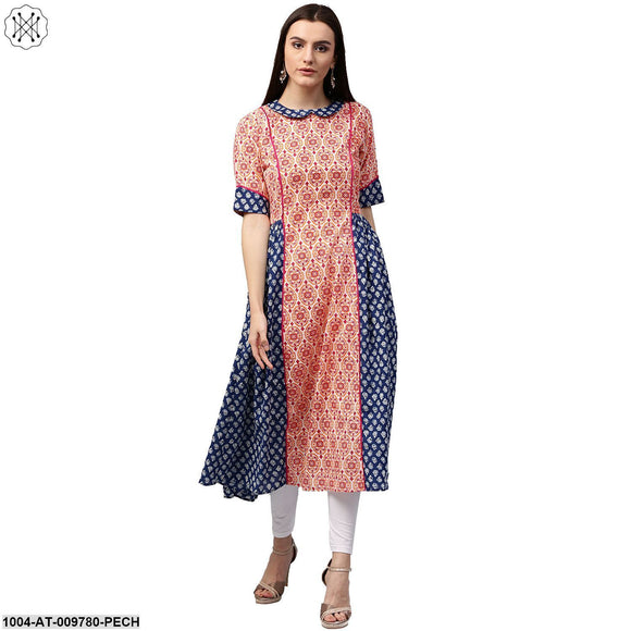 Peach & Blue Printed 3/4Th Sleeve Cotton Slub A-Line Kurta