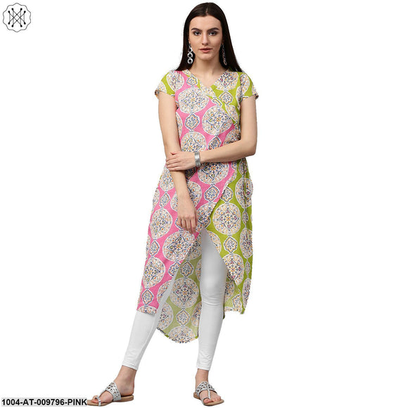 Green & Pink Printed Short Sleeve Cotton Assymetric Kurta