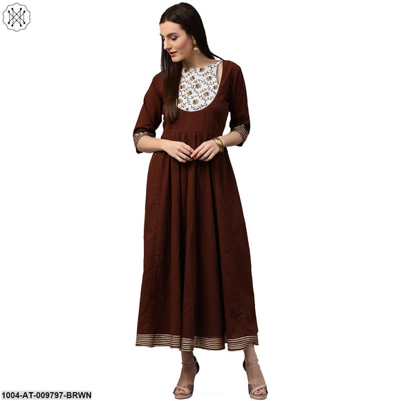 Coffee 3/4Th Sleeve Cotton Anarkali Kurta With Printed Yoke