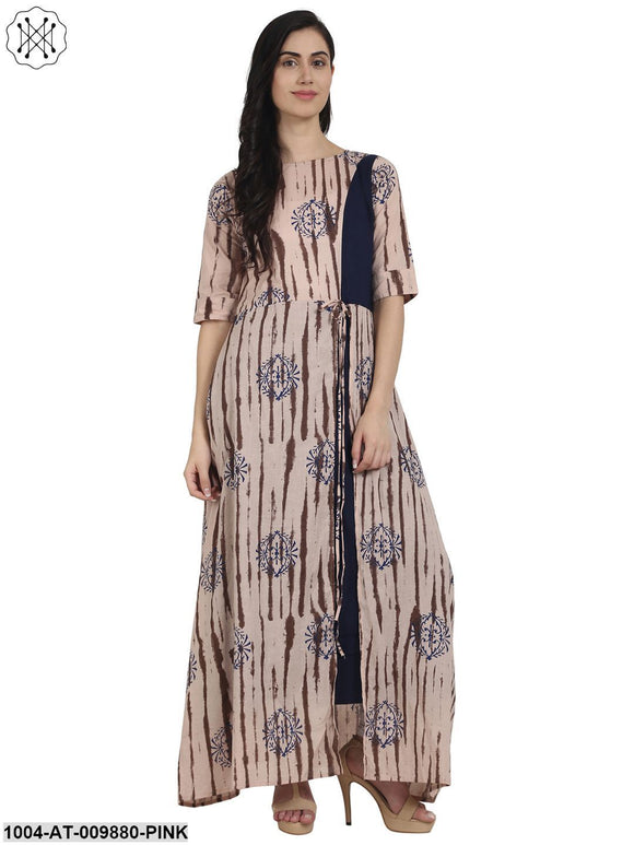 Nude Printed Half Sleeve Cotton Front Slit Floor Length Double Layer Kurta
