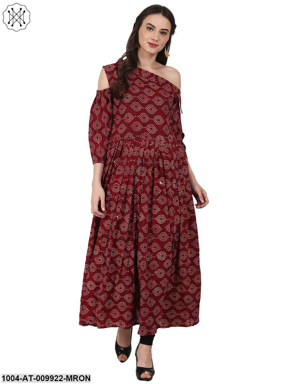 Maroon Printed 3/4 Sleeve Cotton Anarkali Kurta