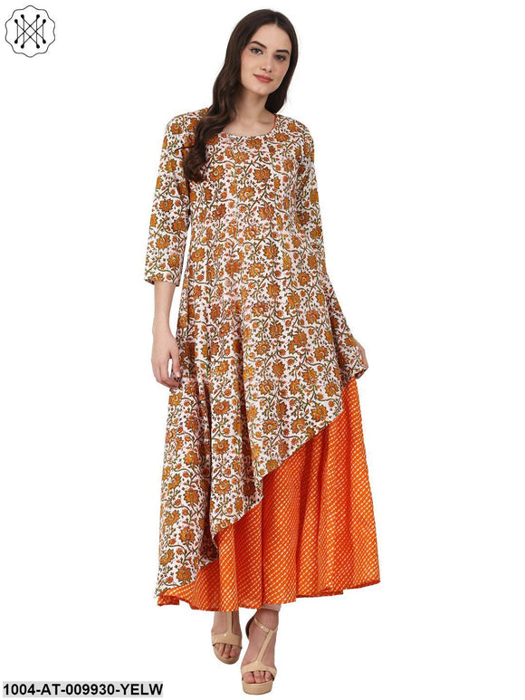 Yellow Printed 3/4 Sleeve Double Layer Cotton Anarkali Kurta