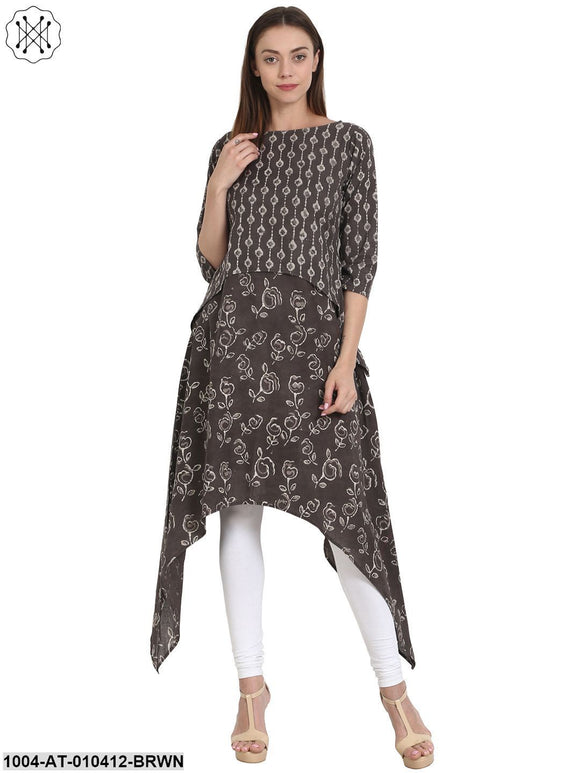 Women Solid Coffee Brown Three-Quarter Sleeves Round Neck Cotton A-Line Kurta