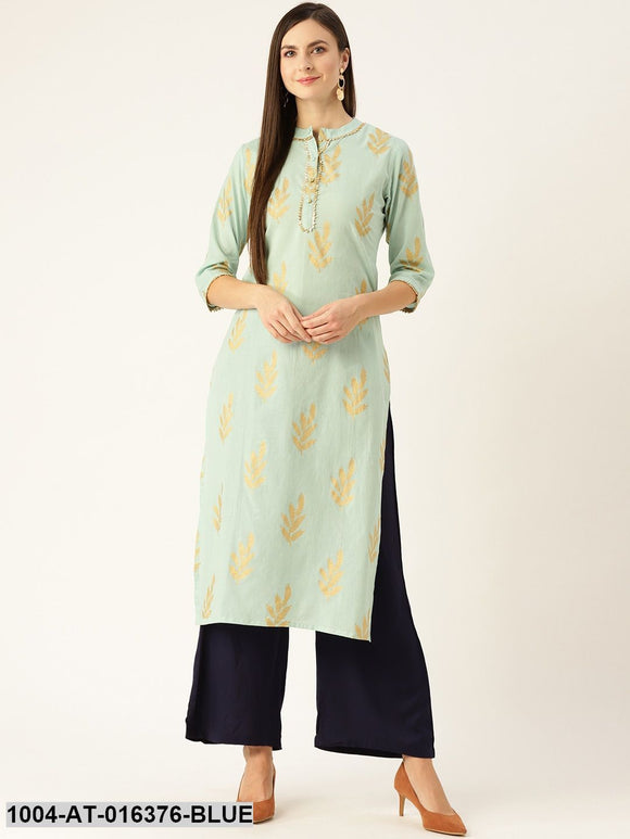 Blue Three-Quarter Sleeves A-Line Ethnic Motifs Yoke Design Cotton Kurta