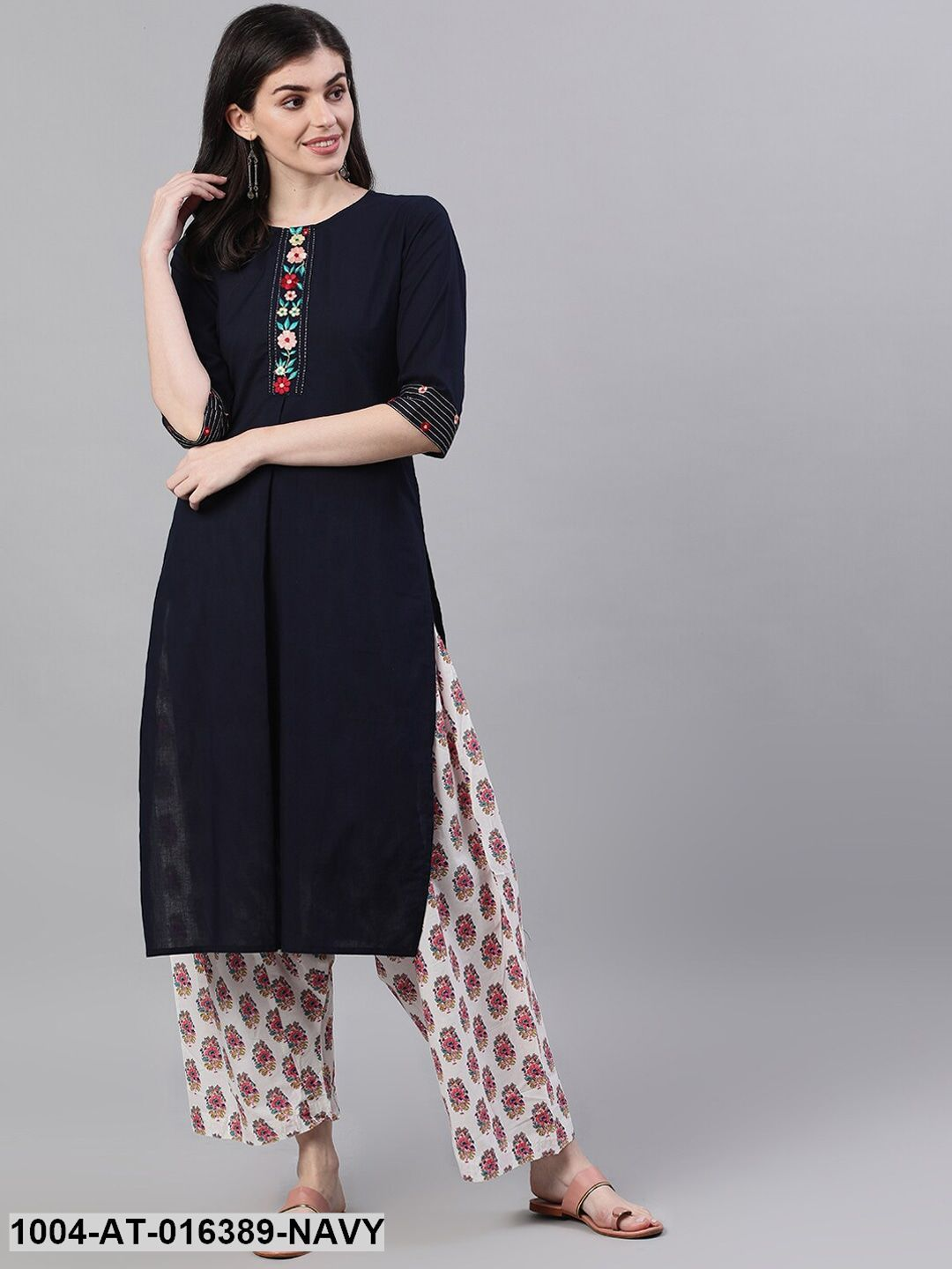 Navy Blue Three-Quarter Sleeves A-Line Solid Embroidered Cotton Kurta