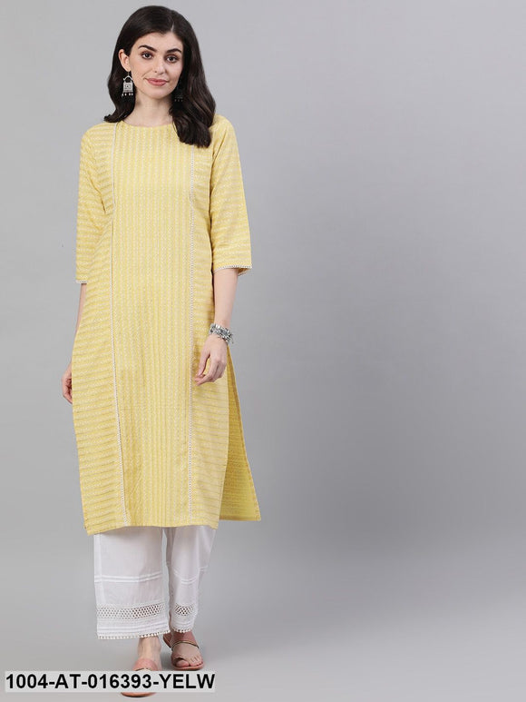 Lime Yellow Three-Quarter Sleeves Straight Striped Striped Cotton Kurta