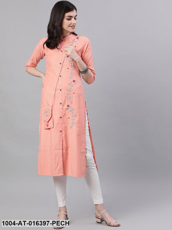 Peach Three-Quarter Sleeves Straight Abstract Embroidered Viscose Rayon Kurta