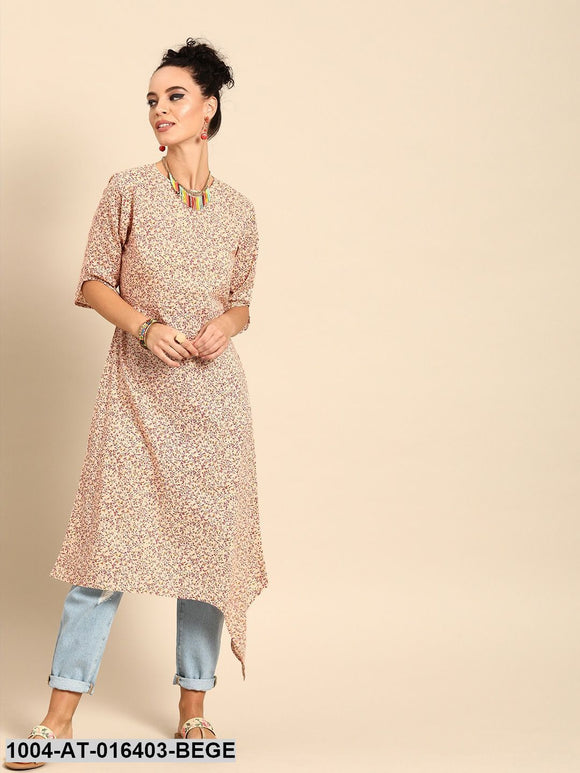 Beige Three-Quarter Sleeves A-Line Floral Printed Cotton Kurta