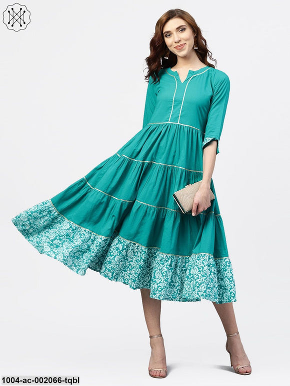 Turquoise Blue Tiered Dress With Round Neck And 3/4 Sleeves