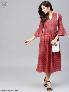 Red Checked Dress With Mandarin Collar And Flared Sleeves