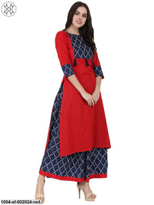 Red Printed 3/4Th Sleeve Cotton Kurta With Blue Printed Skirt