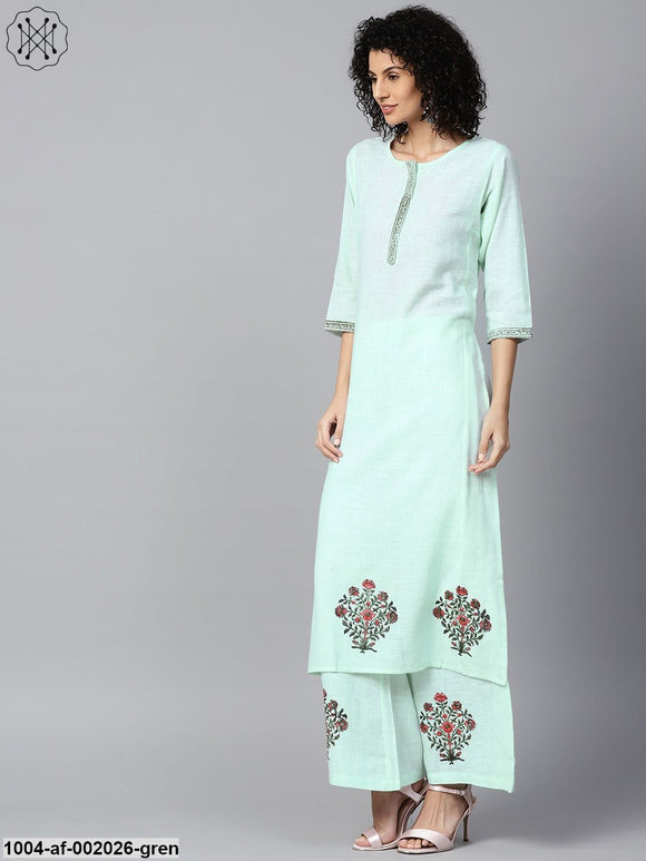 Pista Green 3/4Th Sleeve Cotton Block Printed A-Line Kurta With Flared Palazzos