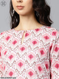 Pink Printed 3/4Th Sleeve Cotton Kurta With Solid Pink Palazzo