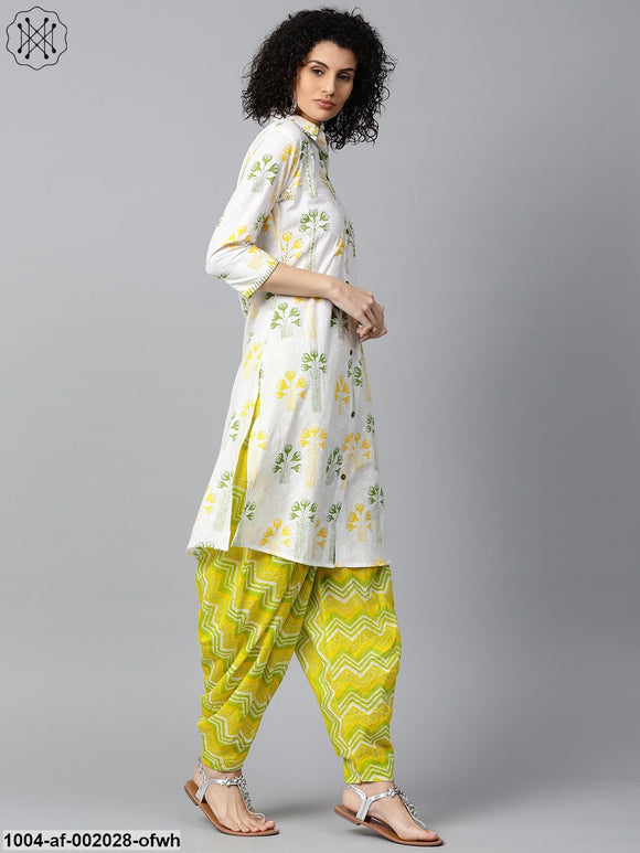 Off White Printed 3/4Th Sleeve Cotton Kurta With Green Printed Patiala Salwar