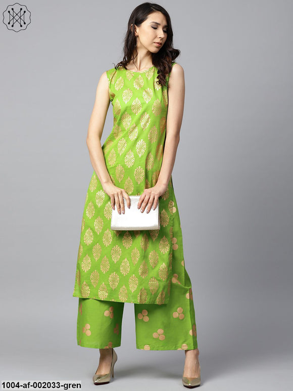 Green Printed Sleeveless Cotton Kurta With Green Printed Palazzos