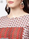 Maroon Printed Half Cold Shoulder Sleeve Low-High Kurta With Printed Palazzos Set
