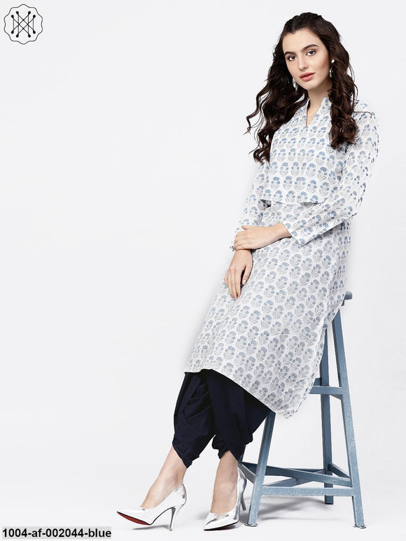 Blue Printed 3/4Th Sleeve A-Line Cotton Kurta With Solid Dye Dhoti Pant Set