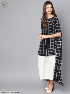 Black Checked Kurta Set With White Culottes