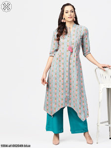 Blue 3/4Th Sleeve Cotton Printed Asymmetric Kurta With Ankle Length Palazzos