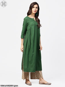Solid Green 3/4Th Sleeve Side Gathering Cotton Kurta With Printed Palazzo