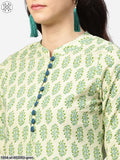 Green Printed 3/4Th Sleeve A-Line Cotton Kurta With Blue Printed Palazzos