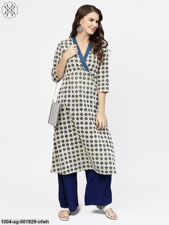 Off White 3/4Th Sleeve Angrakha Style Cotton A-Line Kurta