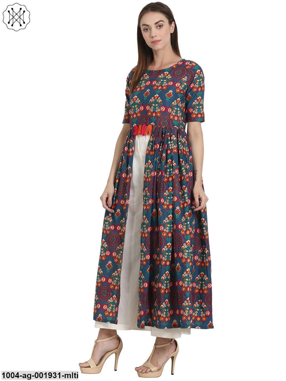 Multi Printed Half Sleeve Cotton Flared Kurta