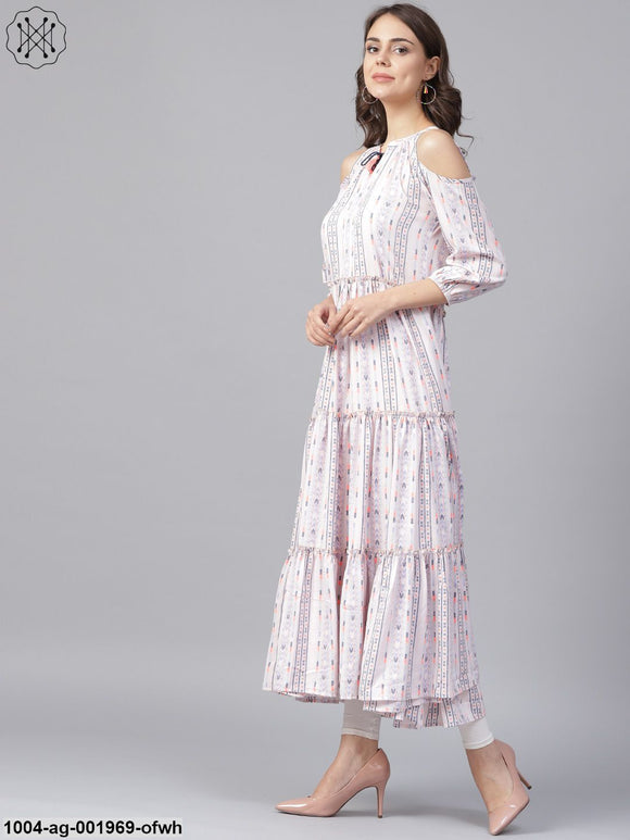 Off White Printed 3/4Th Cold Shoulder Sleeve Tiered Anarkali Kurta