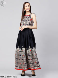 Navy Blue Printed Sleeveless Flex Anarkali Kurta