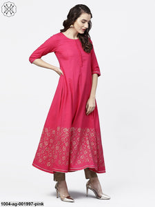 Solid Short Round Neck With 3/4Th Sleeves Gold Hand- Block Printed Anarkali Kurta