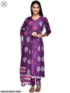 Purple Cotton Printed 3 Pcs Skid Set