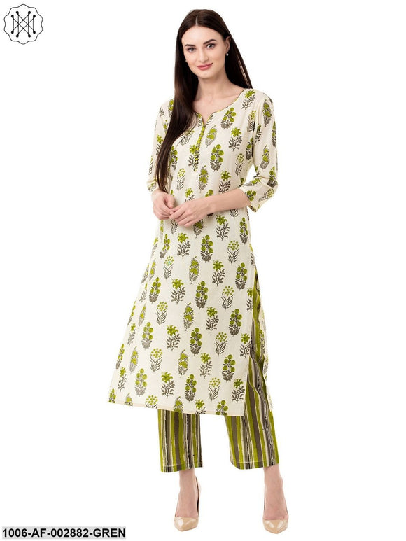 Women's Cotton Printed Kurta Pant Set (Green)