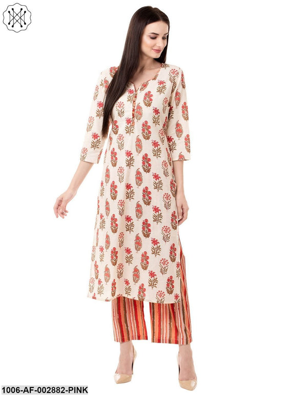 Women's Cotton Printed Kurta Pant Set (Pink)