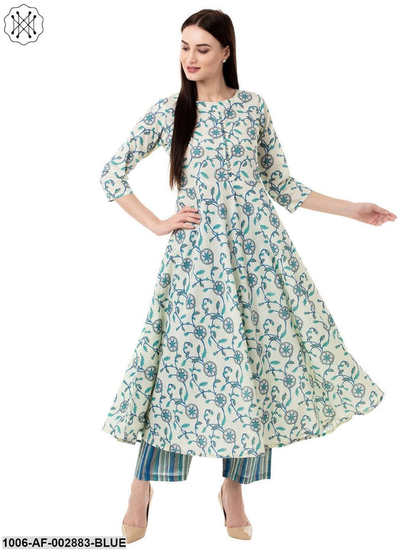 Women's Flared Cotton Printed Kurta Pant Set (Blue)