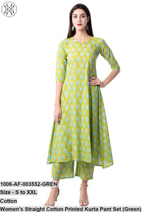 Women's Straight Cotton Printed Kurta Pant Set (Green)