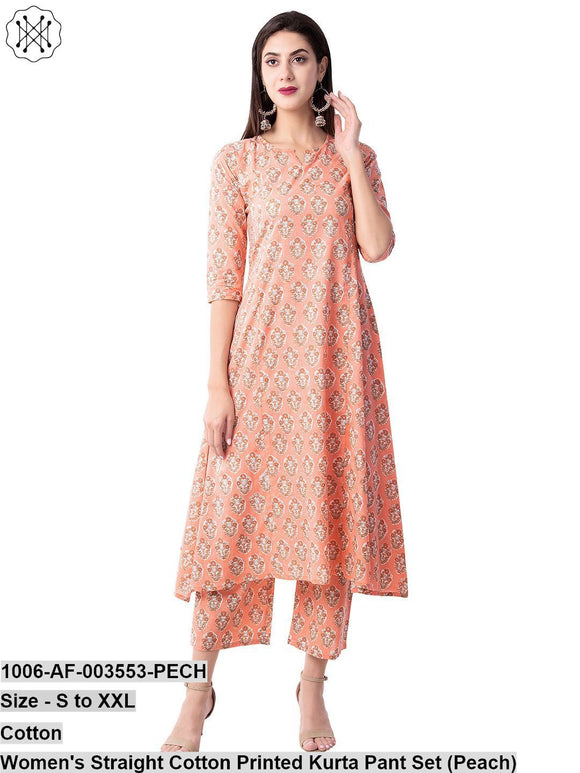 Women's Straight Cotton Printed Kurta Pant Set (Peach)