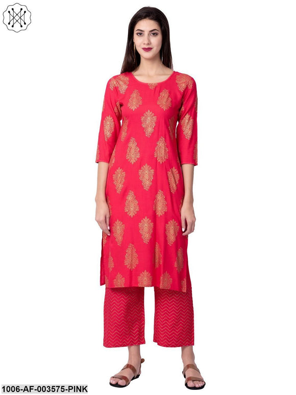 Women's Straight Rayon Printed Kurta Pant Set (Pink)