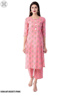 Women's Straight Cotton Printed Kurta Pant Set (Pink)