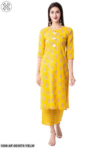 Women's Straight Cotton Printed Kurta Pant Set (Yellow)