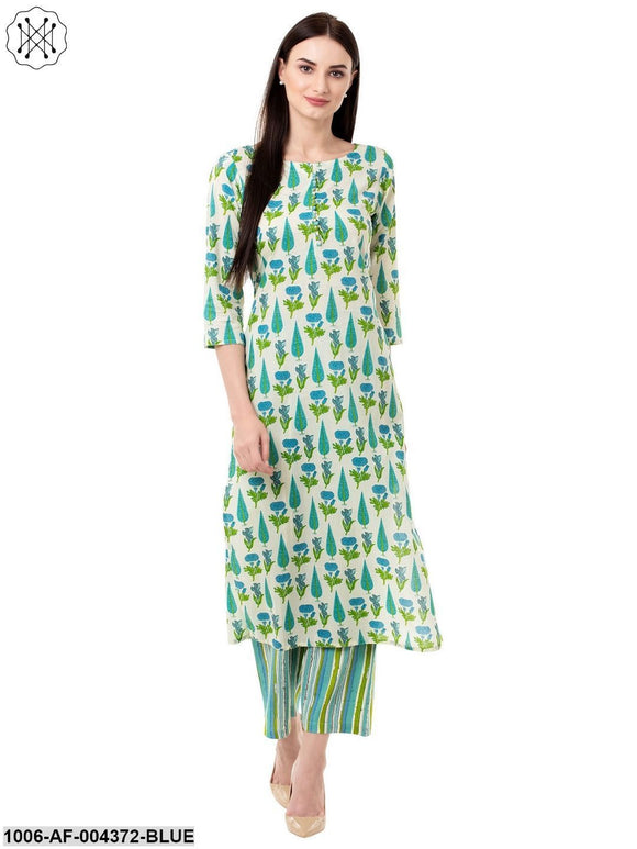 Women's Straight Cotton Printed Kurta Pant Set (Blue)