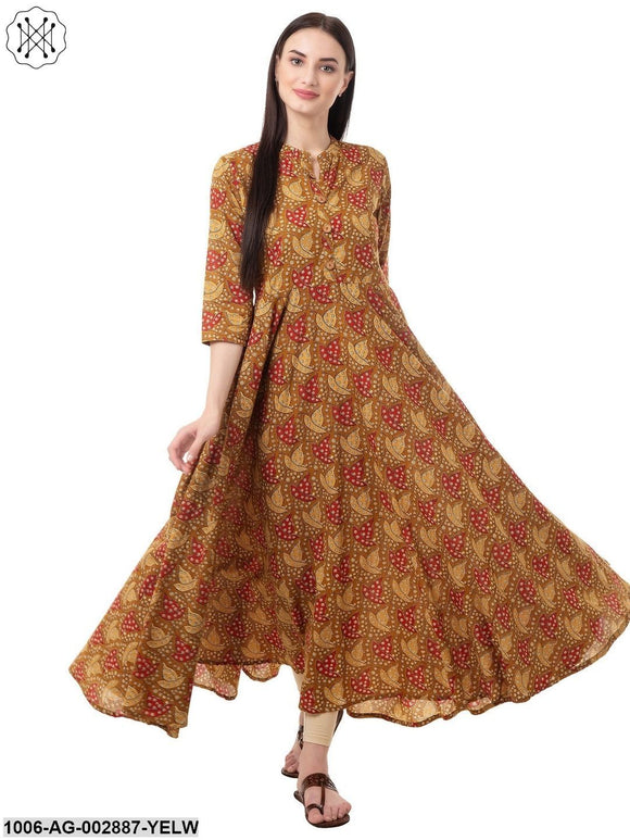 Women's Flared Printed Cotton Kurta