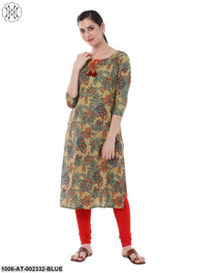 Blue Cotton Printed Kurta