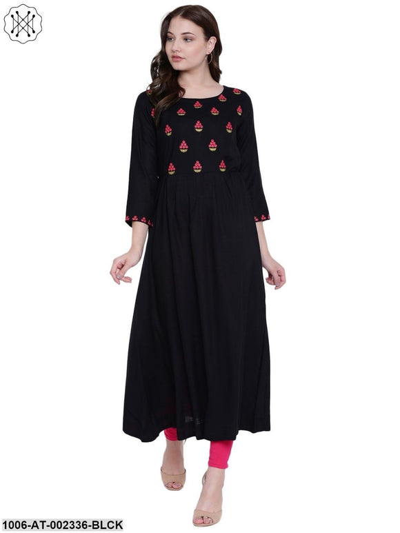 Black Rayon Embroidered Kurta