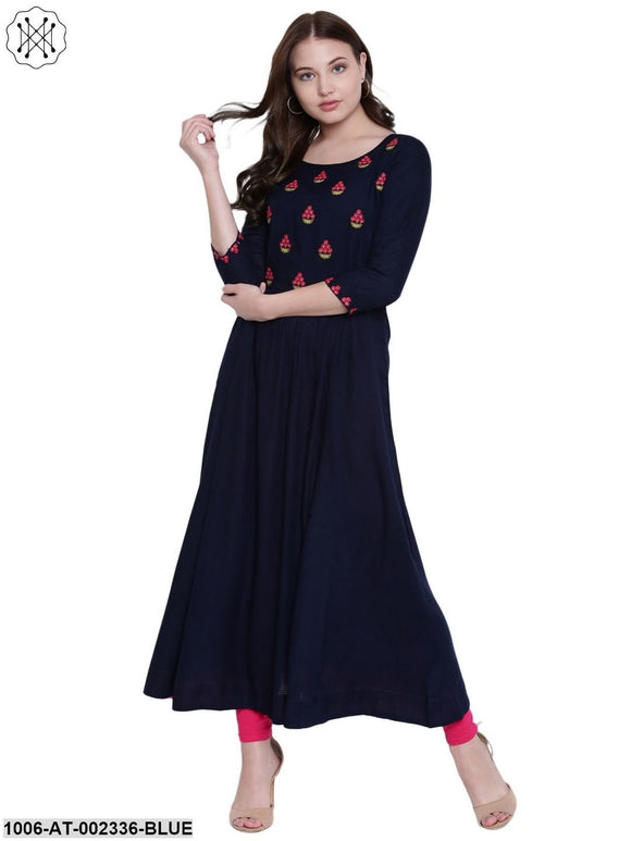 Blue Rayon Embroidered Kurta