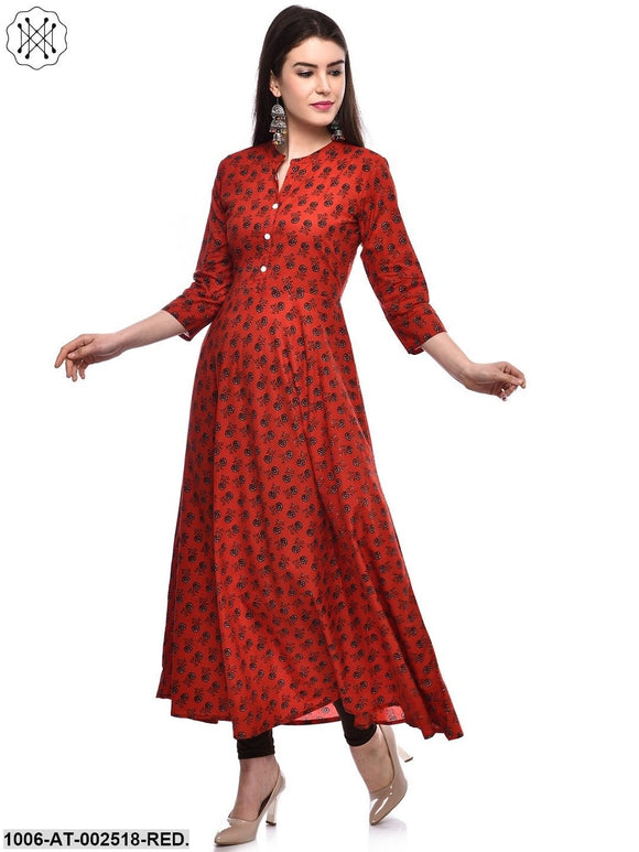 Red Printed A-Line Kurta