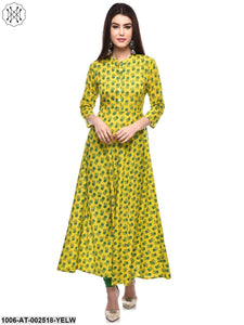 Yellow Printed A-Line Kurta