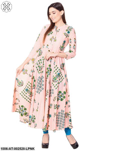 Light Pink Printed Asymmetric Kurta