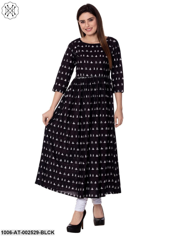 Black Printed Assymetric Kurta